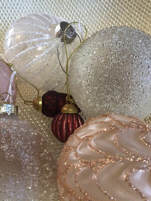 Atty and Smart sparkling Christmas baubles